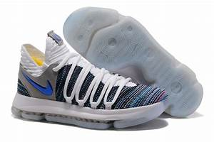 2017 Cheap Nike KD 10 White Blue Grey Basketball Shoes ...
