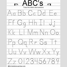 Writing Letters And Numbers Enchantedlearningcom  Educational  Letter Tracing Worksheets