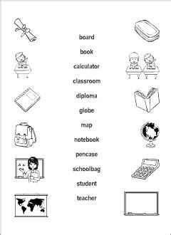 school vocabulary  kids learning english matching game