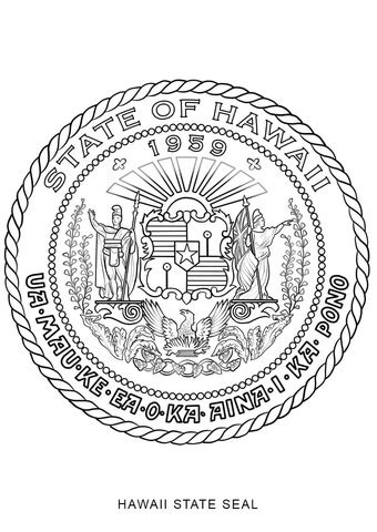 hawaii state seal coloring page  printable coloring