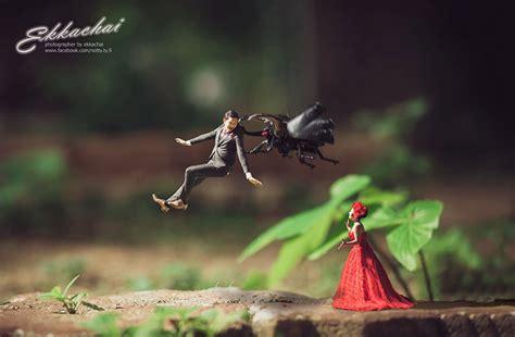 wedding photographer turns couples  miniature people