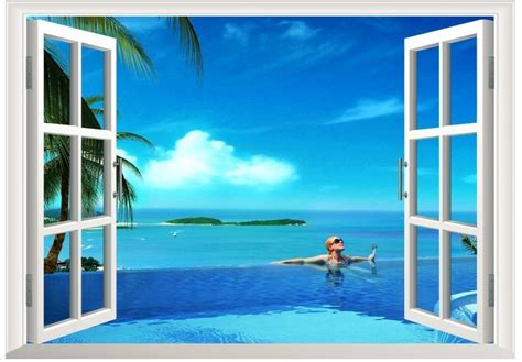 3d Window Ocean View Blue Sea Home Decor Wall Sticker: Aliexpress.com : Buy 2015 Newest Beach Corner 3D Window
