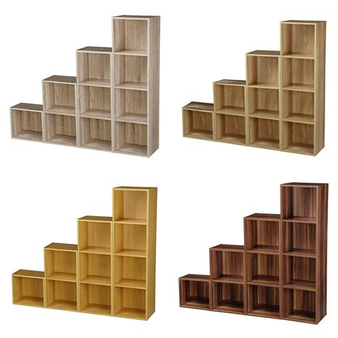 1234 Tier Wooden Bookcase Shelving Display Storage Wood