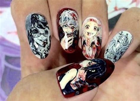tokyo ghoul nail art   cool manga nails