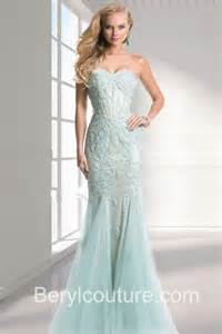 mint bridesmaid dresses mermaid strapless light blue tulle applique prom dress