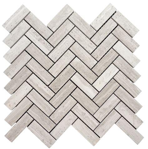 white oak silver cream  herringbone honed floor wall mosaic