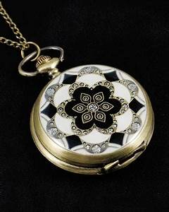 Vintage Style Art Deco Pocket Watch Pendant 2 | Maclin Studio
