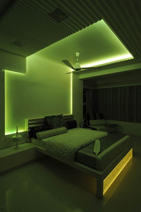 Master Bedroom With Green Neon Light  Design By Architect