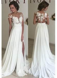 Short sleeve a line chiffon summer wedding dresses split for Summer wedding dresses
