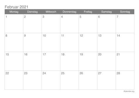 Es ist ein druckfertiges pdf mit 12 seiten im format 21 x 42 cm, 6 spaltig. Kalender Februar 2021 zum Ausdrucken - iKalender.org