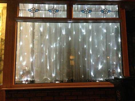 curtain light window display twinkle lights pinterest