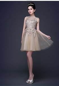 2016 champagne gold formal short lace appliques bridesmaid With wedding dresses for maids