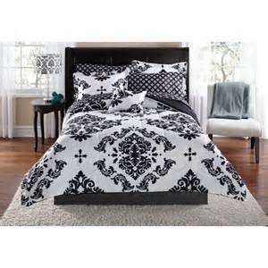 mainstays classic noir bed in a bag bedding set walmart com