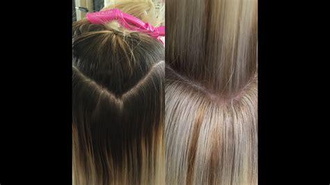 retouching dark roots  blonde roots  technique