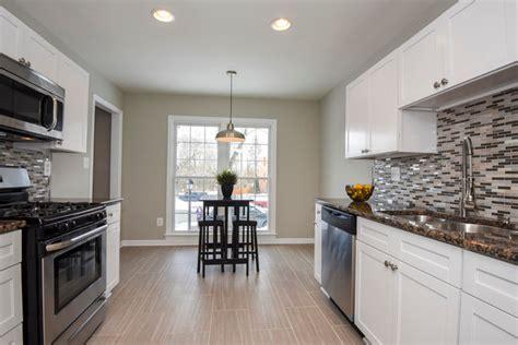 White Shaker Kitchen Cabinets-galley Style Kitchen