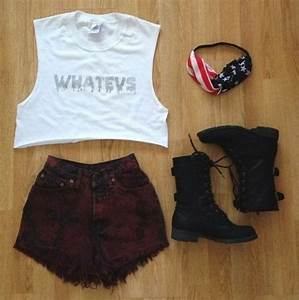 """Whateva"" crop top, red-washed high-waisted denim shorts ..."