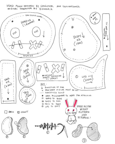 Bunny Template For Sewing by Free Bunny Pattern N Tutorial By Sewcuteplushies On Deviantart