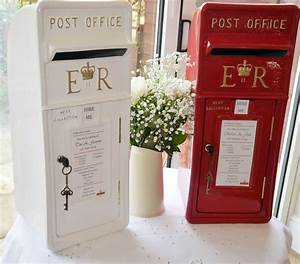 Royal mail post box in red or white for cards wedding for Wedding cards post box hire