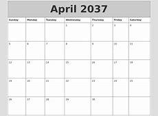 April 2037 My Calendar