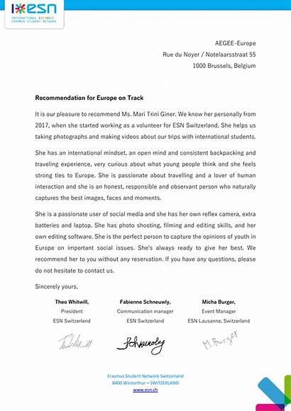 Letter Recommendation Exchange Switzerland