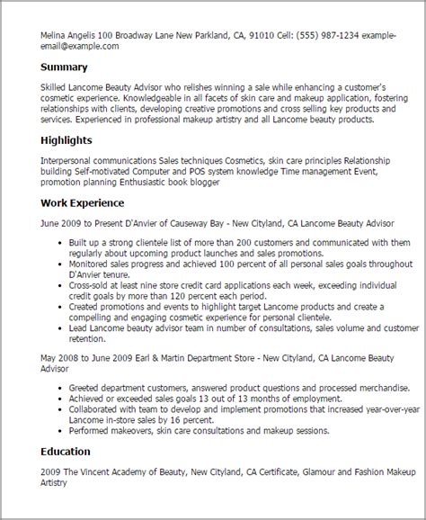 How To Make Resume Sle For by 1 Lancome Advisor Resume Templates Try Them Now