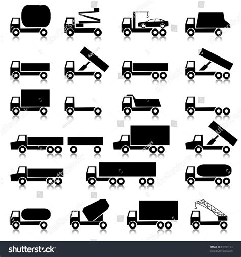Set Vector Icons Transportation Symbols Black Stock Vector