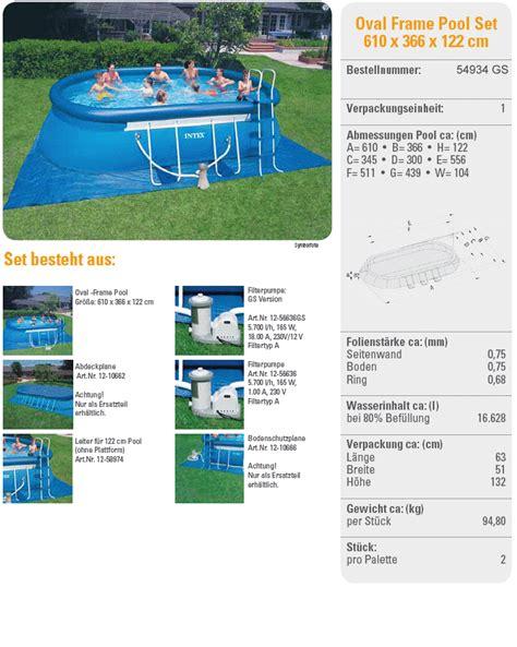 intex pool aufbauanleitung intex swimming pool oval frame 366x610x122 eco 28194 gs