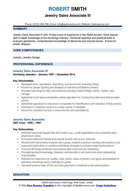 resume sles jewelry sales jewelry sales associate resume sles qwikresume