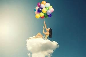 Girl, Balloons, Colorful, Cloud, 4k, Wallpaper