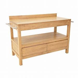 Meuble salle de bain bois 2 tiroirs 120 cm Calveth #5461