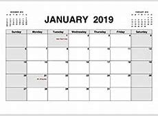 Free 2019 PDF Calendar Templates Download Printable
