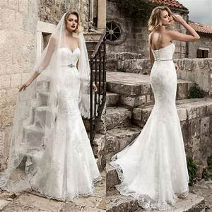 Sexy Lace Mermaid Wedding Dresses 2017 Strapless Applique ...