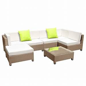 Rattan Lounge Set : 7 pcs brown wicker rattan 6 seater outdoor lounge set beige ~ Orissabook.com Haus und Dekorationen