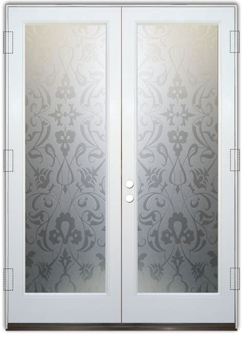 floweret  private pair etched glass doors victorian style