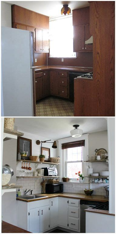 our kitchen before after open shelving budget