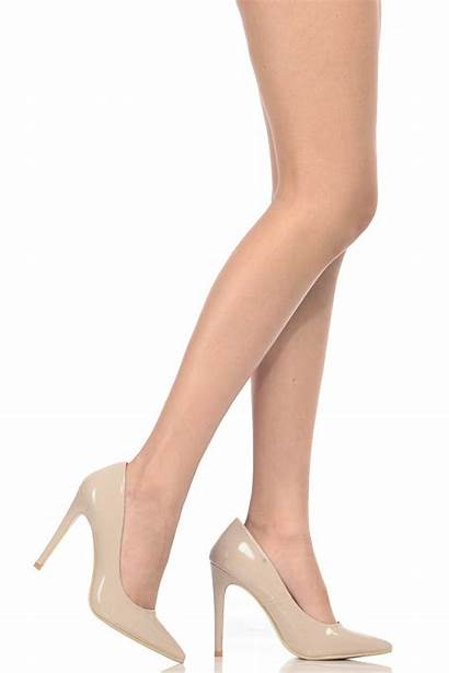 Pumps Leather Toe Patent Pointed Faux Heels