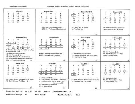 draft calendar brunswick school department