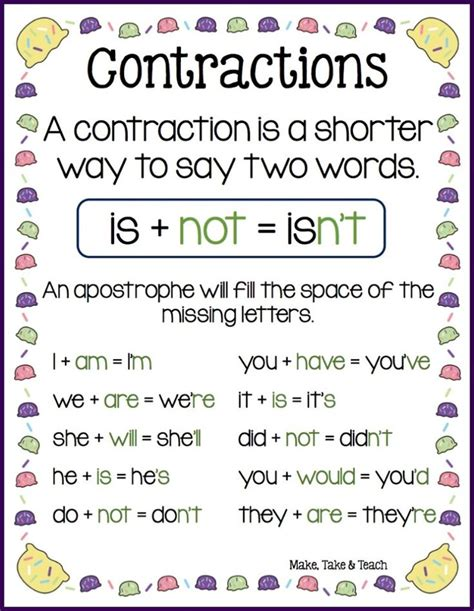 8 Best Images About Contractions On Pinterest  Activities, Student And Circles