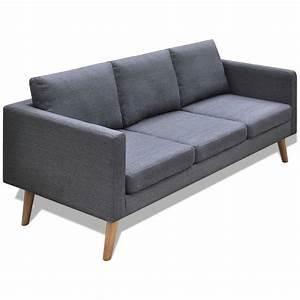 Canapé 3 Places Gris : la boutique en ligne canap 3 places en tissu gris fonc ~ Teatrodelosmanantiales.com Idées de Décoration