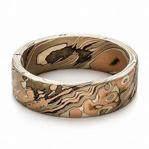 Custom men39s mokume wedding band 100673 for Custom mens wedding rings