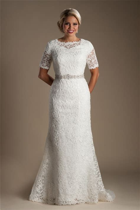 Modest Mermaid Short Sleeve Venice Lace Wedding Dress With Crystals Belt