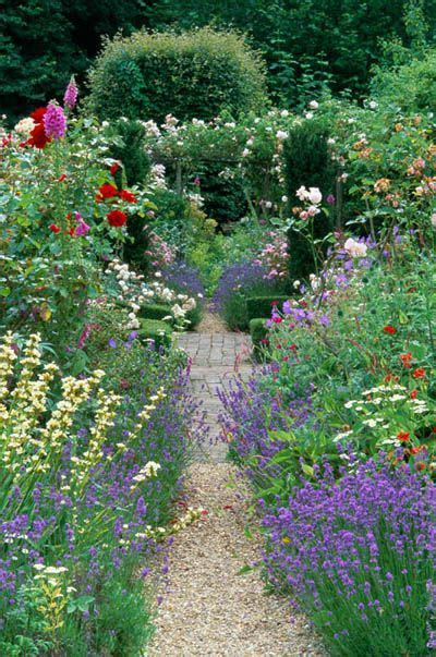 country cottage garden  summer gravel path  mixed