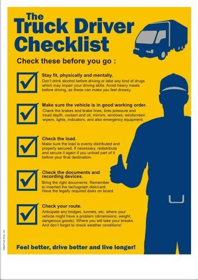 truck driver checklist driving safety truck driving