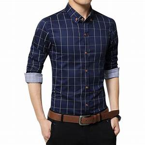 New arrival mens shirt plaid long sleeve casual slim fit for Wedding dress shirts for men