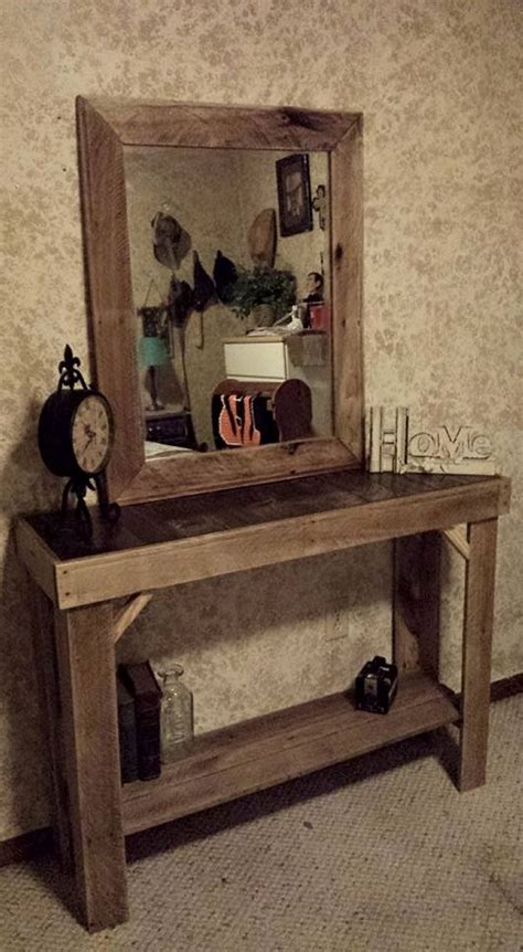 pallet wood furniture reclaimed pallets wood entryway table with mirror pallet Reclaimed