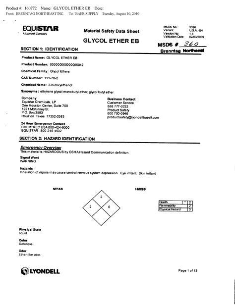 Würth Baer Supply Company MSDS Sheets