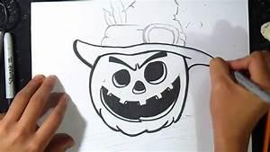 Dessin Citrouille Facile : come disegnare una zucca di halloween graffiti youtube ~ Melissatoandfro.com Idées de Décoration