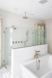 Corner Shower With Marble Tiled Ceiling Cottage Bathroom
