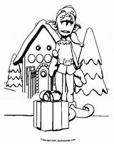 Coloring Gingerbread Pages Elf Printable Houses Clipart Clip Cliparts Cartoon Colouring Christmas Library Popular sketch template