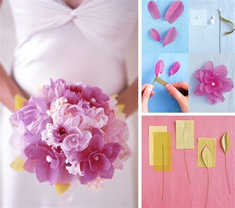 do it yourself eco chic bridal bouquet paper and fabric